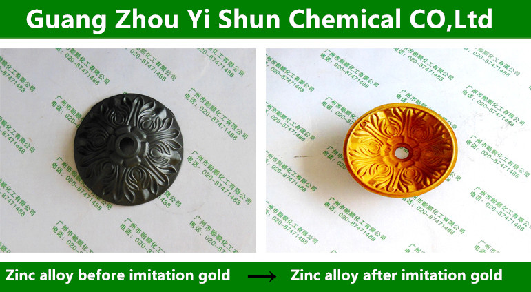 Zinc alloy  imitation gold liquid,Chemical gold imitating agent,Cyanide free zinc coating,Gold imitating agent for galvanized sheet
